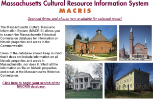 Massachusetts Cultrual Resource Information System (MACRIS)